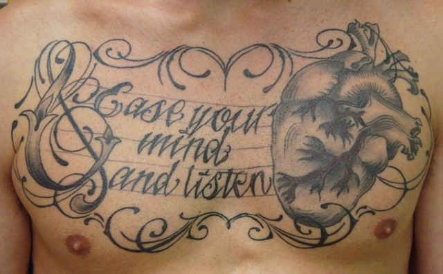 Steve Anderson, 920 tattoo company, oshkosh, wisconsin, tattoo, tattoos, chest piece, heart, script, lettering, black and gray