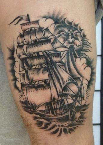 Steve Anderson, 920 tattoo, 920 tattoo co, 920 tattoo company, 920, oshkohs, downtown oshkosh, wi, tim lehi, tim lehi tattoos, ship, ship tattoo, tattoo, tattoos, thigh tatttoos, clipper ship tattos