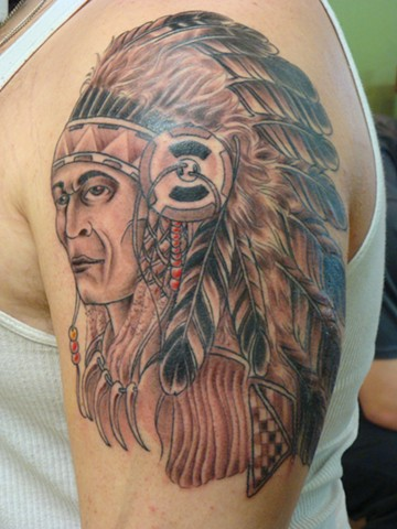Chief, tattoo, custom tattoo, steve Anderson, tattoo shop, tattoo studio, Oshkosh, Fox Valley, 920 tattoo company, black and grey tattoo