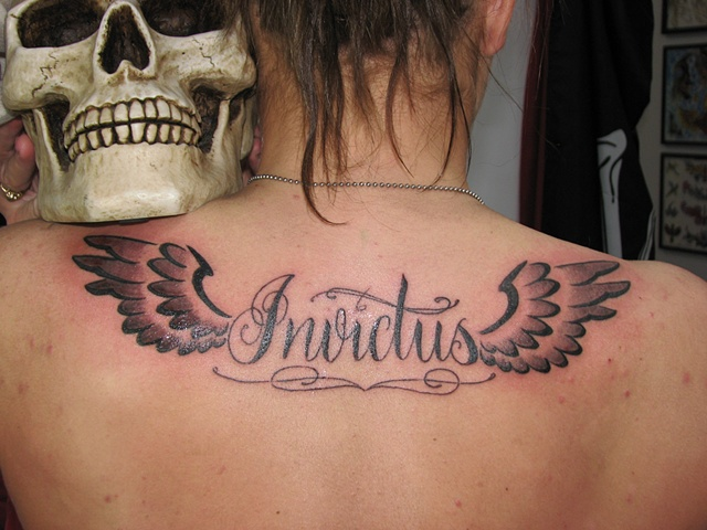 script, lettering, tattoo, wings, back tattoo, Steve Anderson, 920 tattoo company, Oshkosh, custom tattoo, tattoo shop, tattoo studio