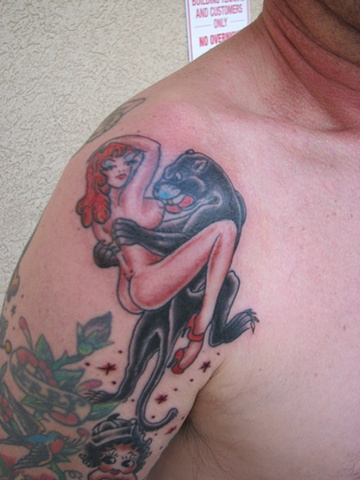Sailor Jerry design, panther tattoo, lady tattoo, 920 tattoo company, tattoo, tattoo shop, Oshkosh, Steve Anderson, Fox VAlley