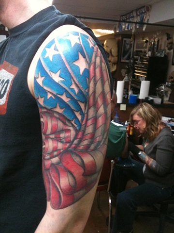 America, flag, tattoo, Oshkosh, tattoo shop, tattoo studio, custom tattoo, 920 tattoo company, Steve Anderson