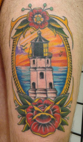 Steve Anderson, 920 tattoo, 920 tattoo co, 920 tattoo company, oshkosh, light house, wi, lighthouse tattoo, tattoo, tattoos, thigh piece, thigh tattoo, lighthouse tattoo, traditional tattoo