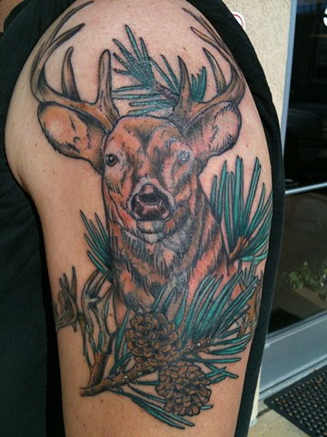 cover up tattoo, wildlife tattoo, deer tattoo,tattoo, tattoo shop, tattoo studio, 920 tattoo company, Steve Anderson, Oshkosh