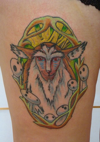 Steve Anderson, 920 tattoo company, oshkosh, wisconsin, tattoo, tattoos, forest spirit, princess mononoke, forest spirit tattoo, princess mononoke tattoos