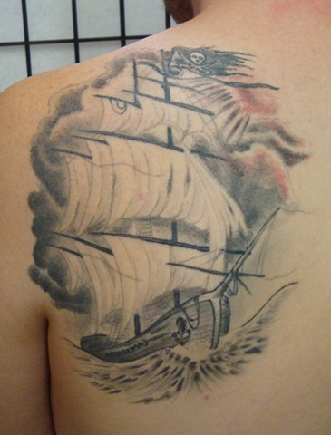 steve anderson, 920 tattoo co, 920 tattoo company, 920 tattoo, oshkosh, wi, wisconsin, downtown oshkosh, tattoo, tattoos, ship, ship tattoo, clipper ship, clipper ship tattoo