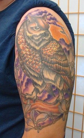 920 tattoo, oshkosh, wisconsin, steve anderson, owl tattoos, tattoos of owls, bright, colorful, tattoos, tattoo,