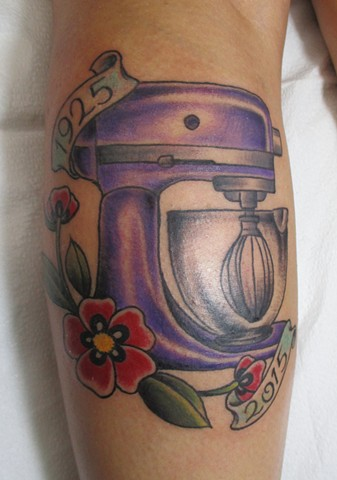 Steve Anderson, 920 Tattoo Company, 920 Tattoo Co, 920 Tattoo, tattoo,m tattoos, kitchen aid mixer, kitchen aid mixer tattoo, kitchen tattoo, memorial tattoo, baking tattoos, vintage tattoos, baking, cooking, chef tattoo, baker tattoos, memorial piece, me
