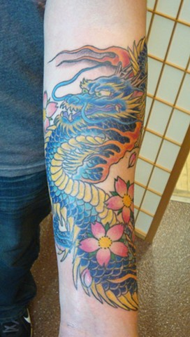 Steve Anderson, 920 Tattoo Company, 920 Tattooco, 920 Tattoo, japanese, japanese dragon, japanese tattoo, tattoo, tattoos, dragon, dragon tattoo, blue dragon, cherry blossom, cherry blossoms