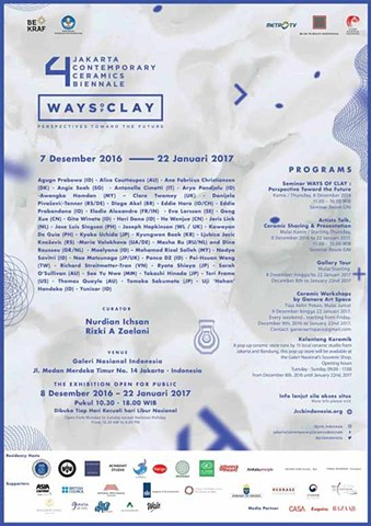 "The 4th Jakarta Contemporary Ceramics Biennale  ""Ways Of Clay : Perspectives toward the future"""