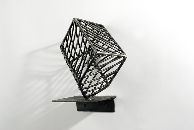 welded steel, house, wall-mounted sculpture, small-scale