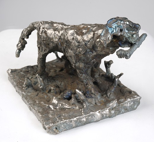Steel, sculpture, welded, dog, bone, fetch, contemporary, art,