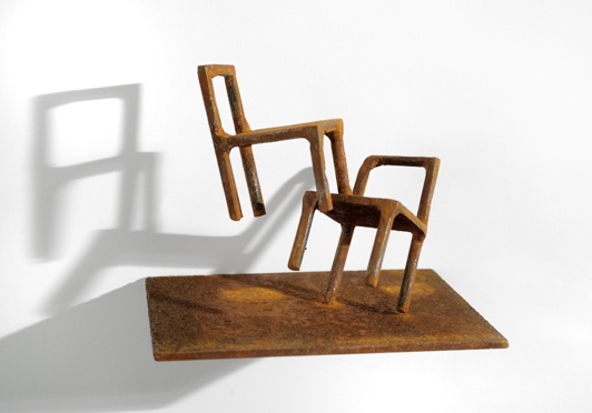 chair, welded steel, iron oxide