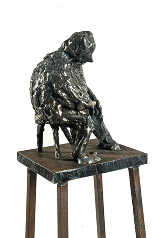 Man, figure, sculpture, steel, welded, crafted, stool, seated figure.