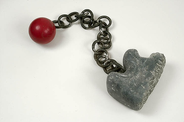 hand wrought chain, bowling ball, steel, forlorn love lost.