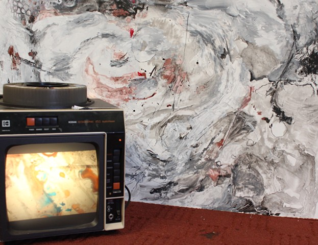 "for years I,,,, Installation View, ""Responses Are Bigger,"" found slides, ink, projector"