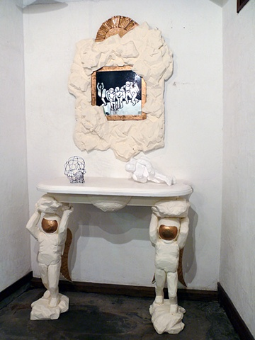 Lunar Table with Mirror, Skull and Reclining Figure