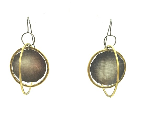 eclipse earring, silver, brass, di luce design, modern jewelry, Seattle made, meaningful art