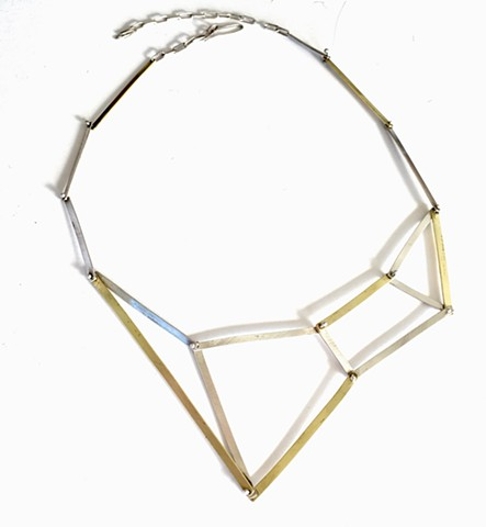 angular necklace, kinetic, silver, brass, Seattlemade, Di Luce Design, modern, sculptural,