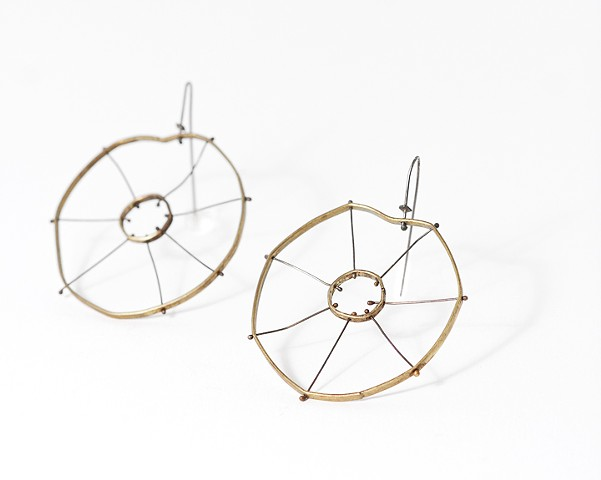 Nasturtium earring; silver, circular, organic, brass, patina by Jennifer Bennett of Di Luce Design