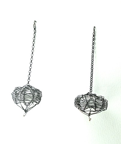 E-WITH oxidized silver wire earring by Jennifer Bennett
