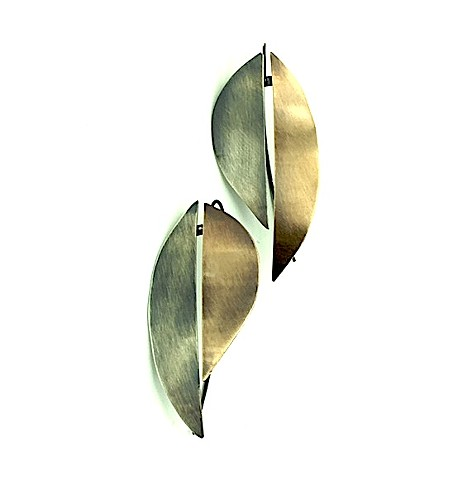 E-CURL earring, organic, botanical, mixed-metal, bronze, oxidized silver, brushed,reverse, dimensional, sculptural,