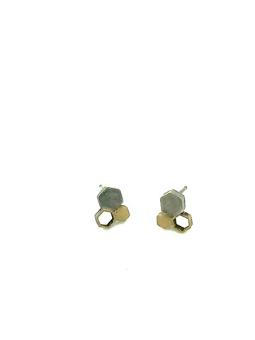 Triad Earring: one solid oxidized silver hexagon and 2 brass hexagons of various sizes, simply atomic by  Di Luce Design, Jennifer Bennett