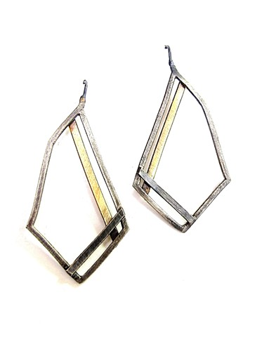 jewelry earring silver brass striation jennifer bennett di luce design striped angle diamond-shape