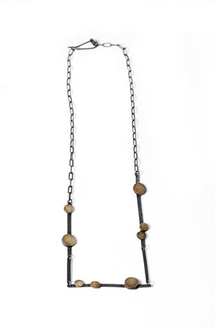 Molecule necklace by Jennifer Bennett of Di Luce Design, organic, molecular, oxidized, silver, brass