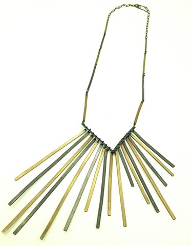 fringe necklace silver, brass, oxidized, lines, movement, kinetic, Stevie Nicks, Seattle, jennifer bennett, di luce design