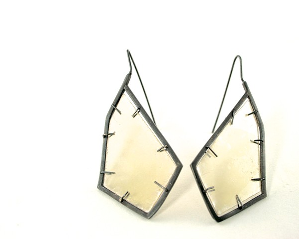 E-DIAMICA diamond shaped oxidized silver earrings with mica inset.