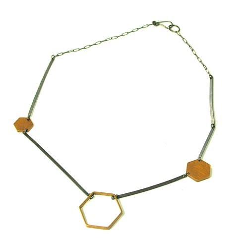 N-HEXLINE Line necklace with oxidized silver and hexagonal brass elements by Jennifer Bennett of di luce design