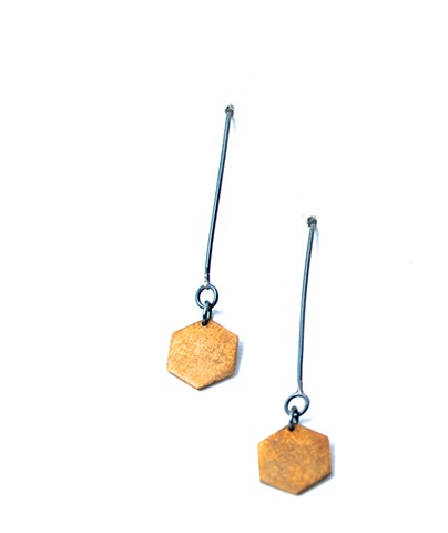E-HEXDANG hex dangle earring--oxidized brass & silver