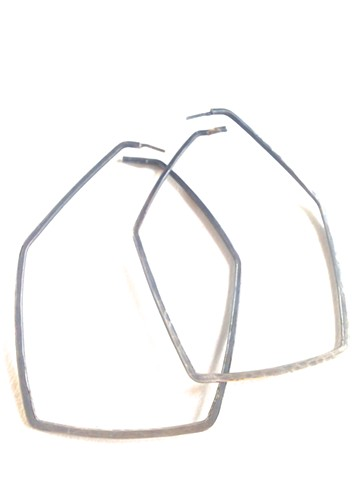 hoop earring, hexagon, sterling silver, oxidized silver, large, geometric, stylish, powerful, jennifer bennett, dilucedesign