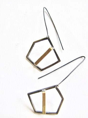 earring pentagon silver oxidized brass geometric dilucedesign stylish