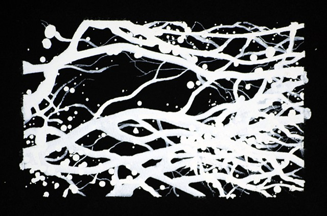 Ian Crawley Art Tree Branch Abstract Ink Drawing