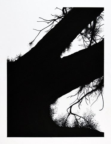 Art Tree Branch Abstract Ink Drawing by Ian Crawley