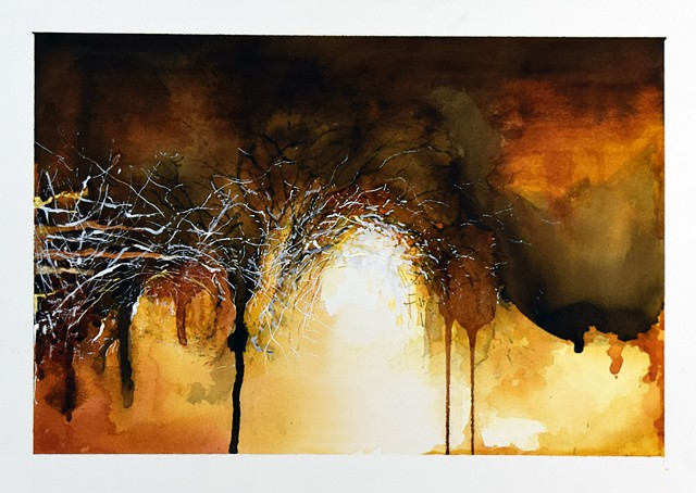 Art Trees Wood Abstract  Watercolor Painting by Ian Crawley
