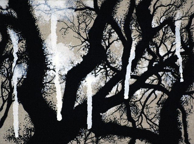 Ian Crawley Art Tree Branch Abstract Ink Painting