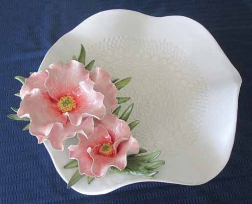 White Bowl with Pink Poppies