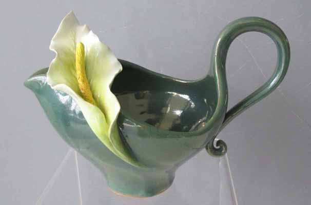Wide Pitcher with Calla Lily