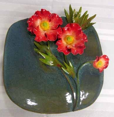 Plate with Red Poppies
