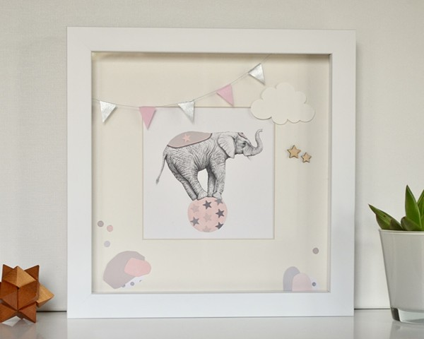 Circus Elephant (pink and silver)