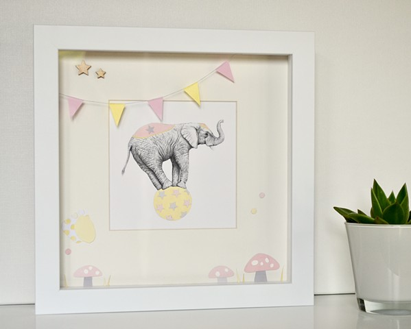 Circus Elephant (pink and yellow)