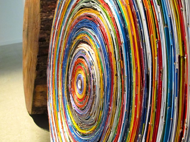 Eco-art, deforestation, activist art, paper waste, recycling, recycled art