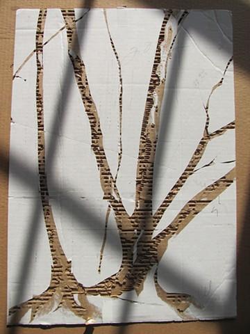 Deforestation, upcycled art, eco-art, paper waste, cardboard, fine art