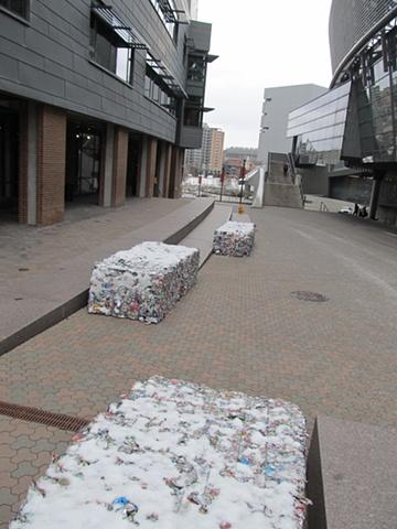 EcoArt Trash Crushed Aluminum Bales Upcycled Installation recycling  Detritus Sculpture Ecology