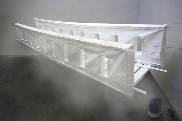 floating paper bridge with smoke machine