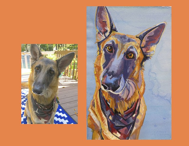 Color Dog portrait, pet portrait, dog portrait, custom oil dog portrait of a German Shepherd, painting of a German Shepherd, Color Dog portrait by Sarah Gayle Carter