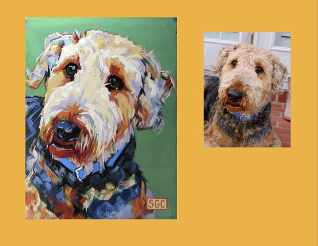Color Dog portrait, pet portrait, dog portrait, custom oil dog portrait, portrait of an Airedale